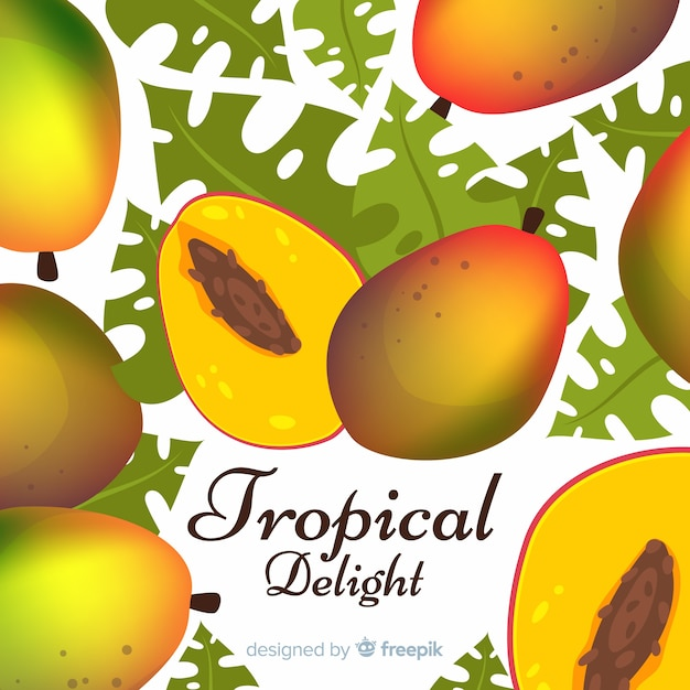 Hand drawn mango and leaves background Free Vector