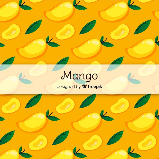 Hand drawn mango and leaves pattern Free Vector
