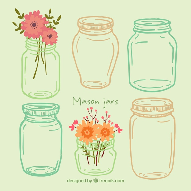 Hand drawn manson jars Premium Vector