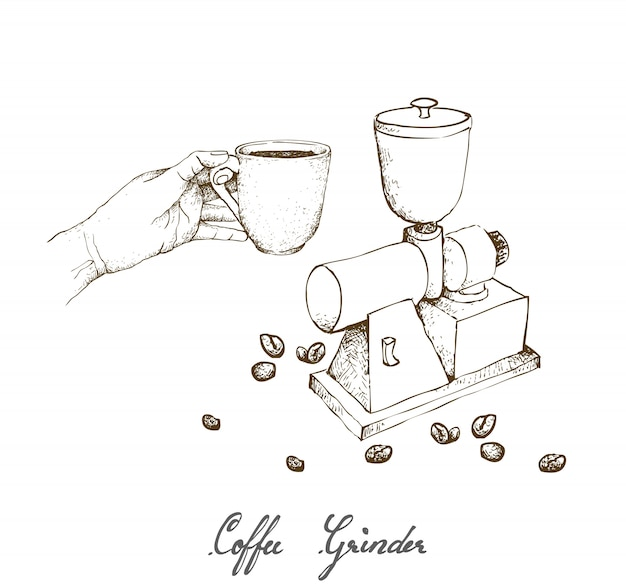 Hand drawn of manual coffee grinder with coffee Premium Vector