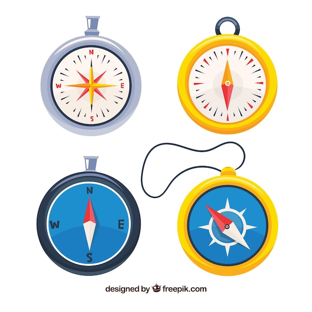 Hand drawn map compass collection Free Vector