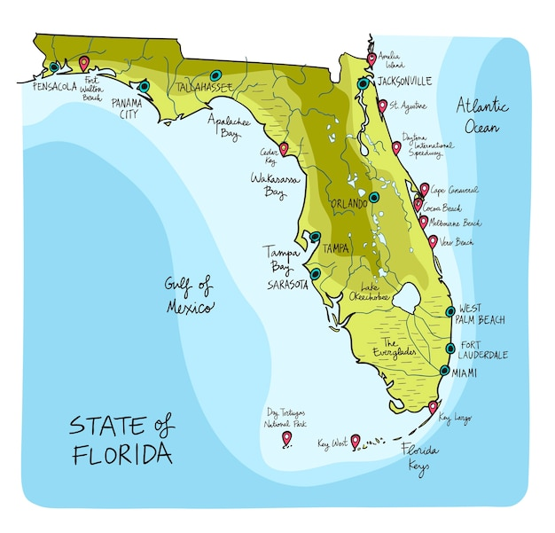 Map Of Florida Melbourne.Hand Drawn Map Of Florida With Main Cities Vector Premium Download