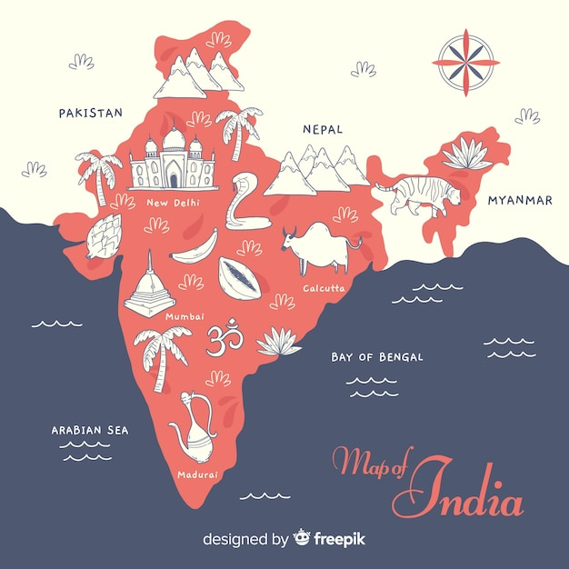 Hand drawn map of india Free Vector