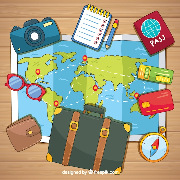Hand drawn map with travel elements Free Vector