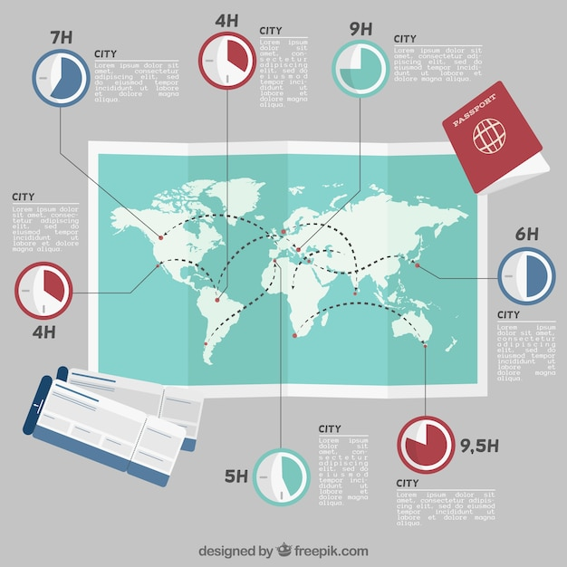 Hand drawn maps with travel elements Premium Vector