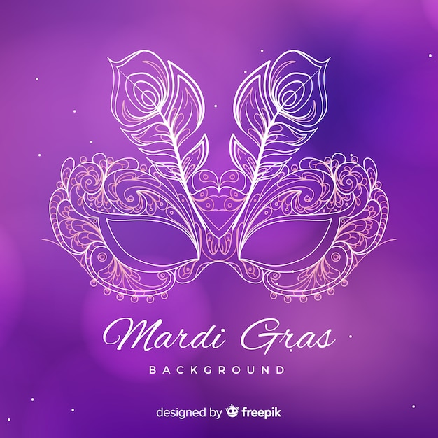 Hand drawn mardi gras background Free Vector