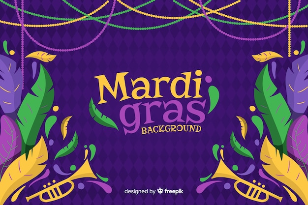 Hand drawn mardi gras carnival background Free Vector