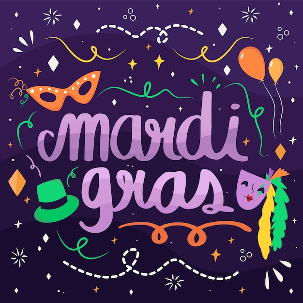 Hand drawn mardi gras with balloons Free Vector
