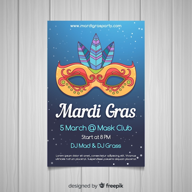 Hand drawn mardi grass poster Free Vector