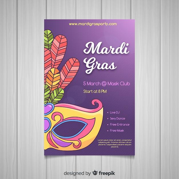Hand drawn mardi grass poster Free Vector