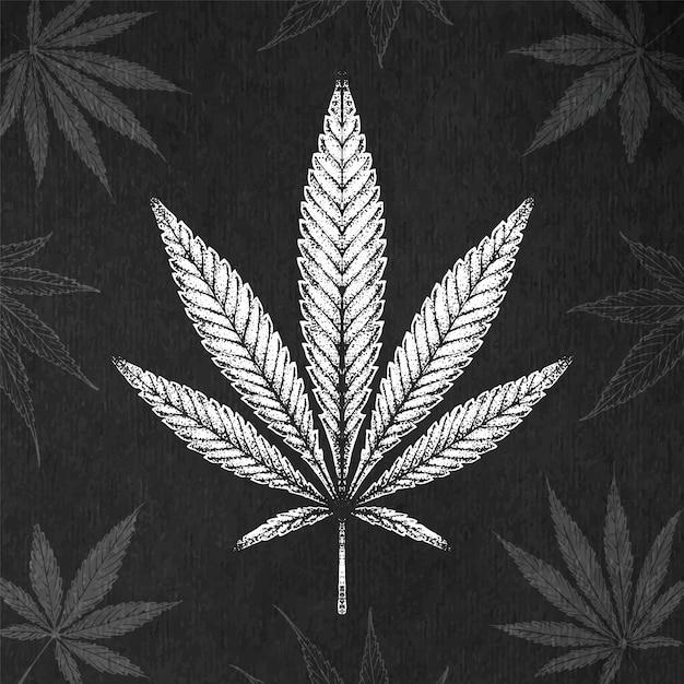 手描きのマリファナの葉。ヴィンテージ刻印スタイル大麻葉 Premiumベクター