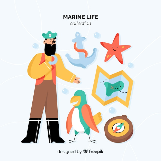 Hand drawn marine character pack Free Vector