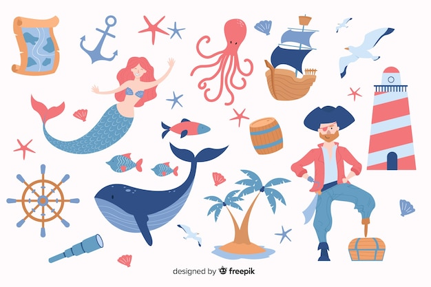 Hand drawn marine characters collection Free Vector