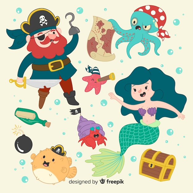 Hand drawn marine life character collection Free Vector