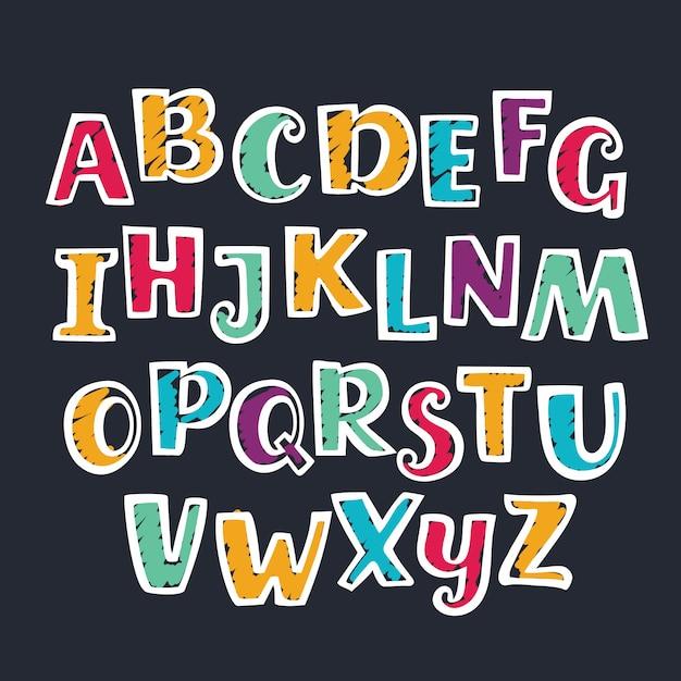 手描きマーカーカラフルな大文字のアルファベット。 Premiumベクター