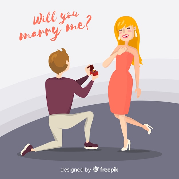Hand drawn marriage proposal composition Free Vector