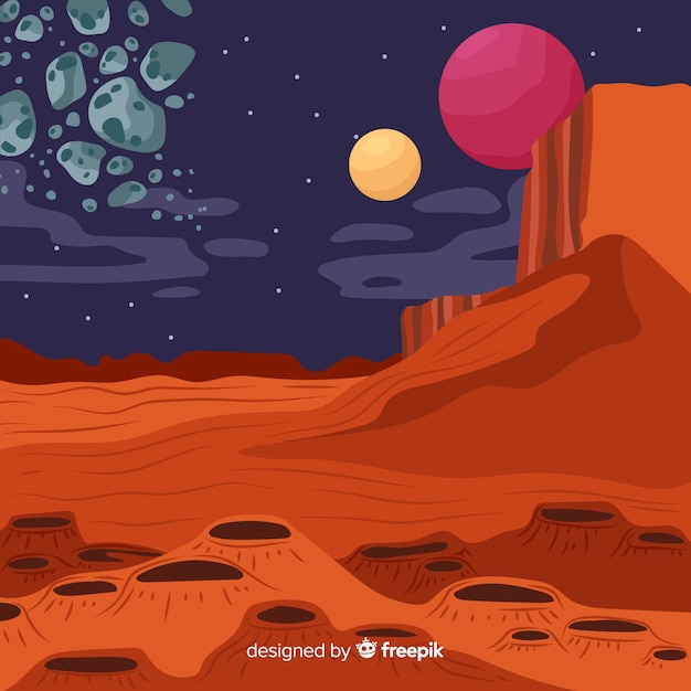 Hand drawn mars landscape background Free Vector