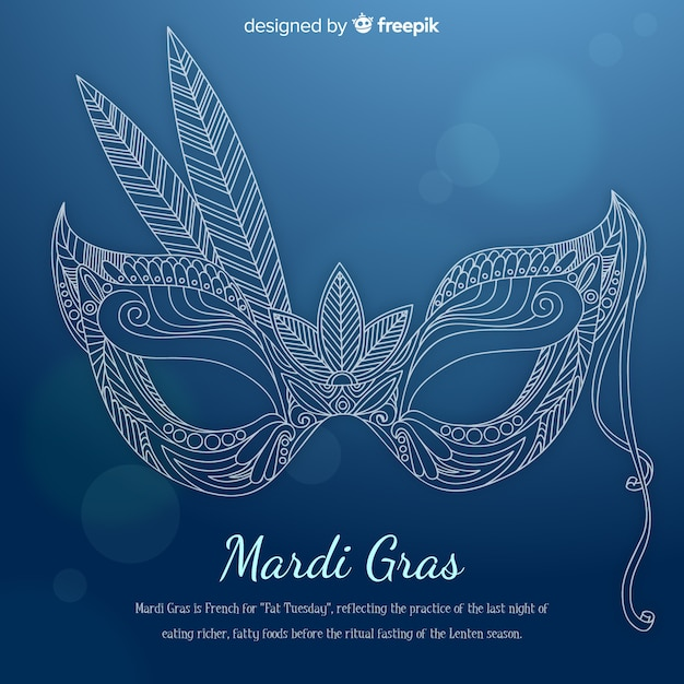Hand drawn mask mardi grass background Free Vector