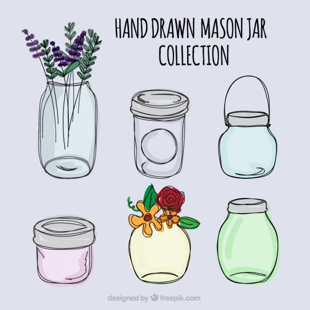 Hand drawn mason jars Vector | Free Download