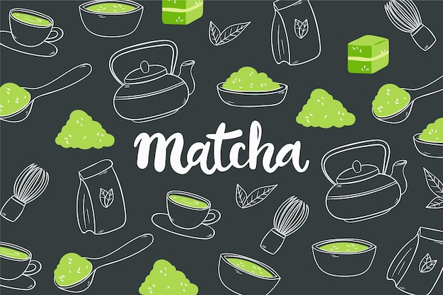Hand-drawn matcha tea background concept Free Vector