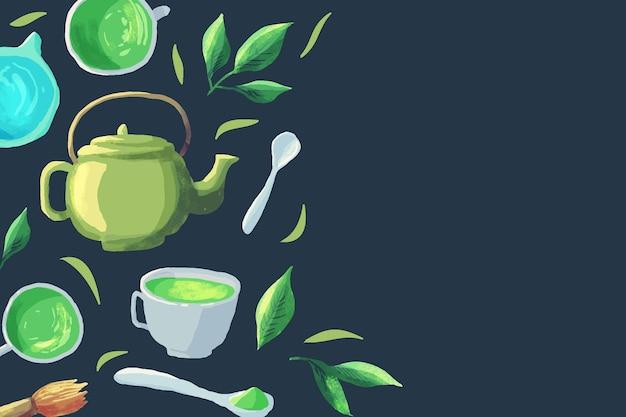 Ручной обращается чай маття фон Premium векторы