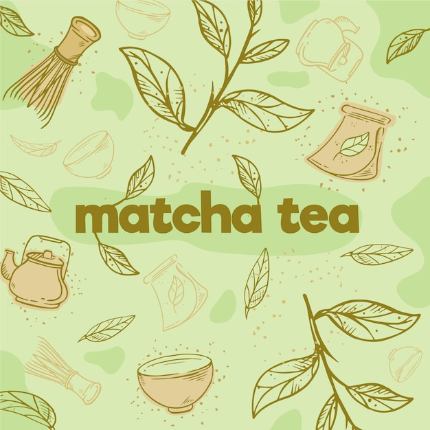 Hand drawn matcha tea background Free Vector