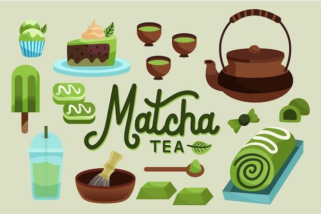 Hand drawn matcha tea wallpaper Free Vector