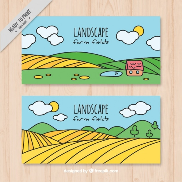 Hand drawn meadows banners  Free Vector