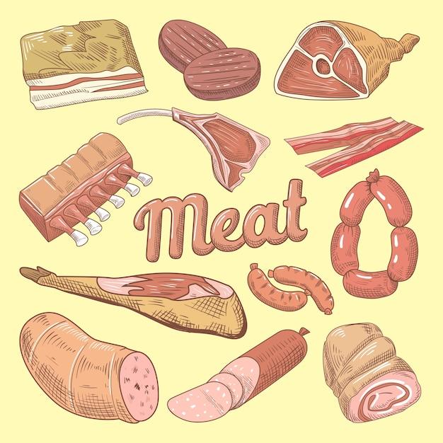 Рисованной каракули мяса со свининой, сосисками и ветчиной Premium векторы