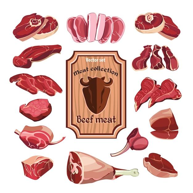 Insieme di elementi di carne disegnata a mano Vettore gratuito