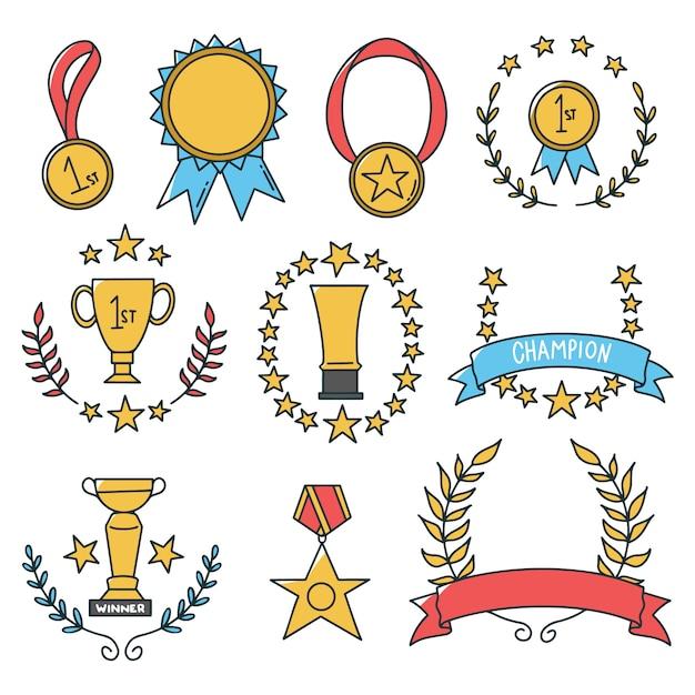 Hand drawn medal icon set Premium Vector