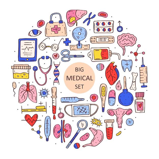 Комплект оборудования медицины нарисованный рукой Premium векторы