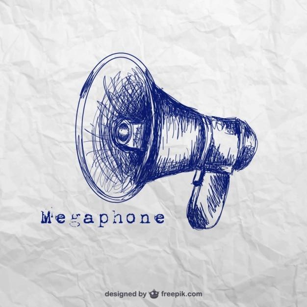 Hand drawn megaphone Free Vector