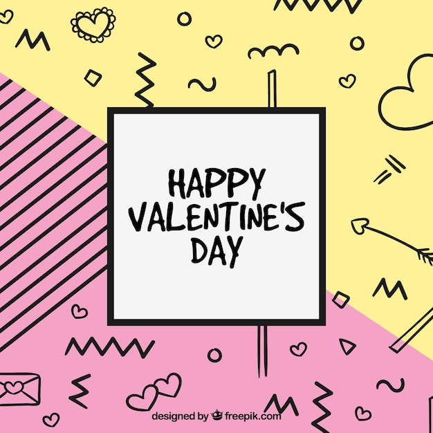 Hand drawn and memphis valentine's day background Free Vector