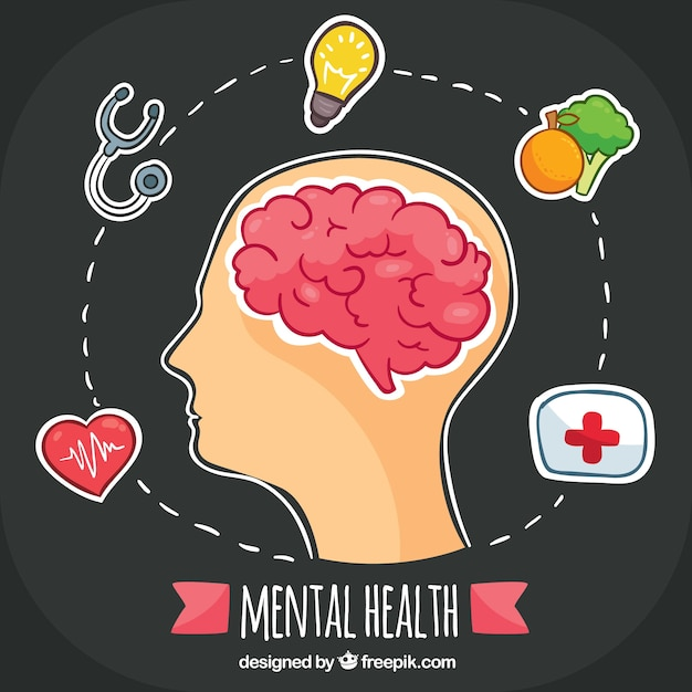 Hand drawn mental health concept Free Vector