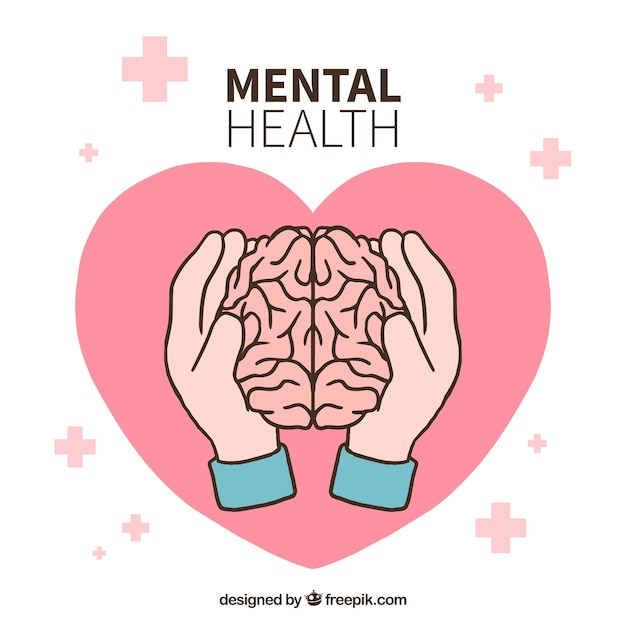 Hand drawn mental health concept Free Vector