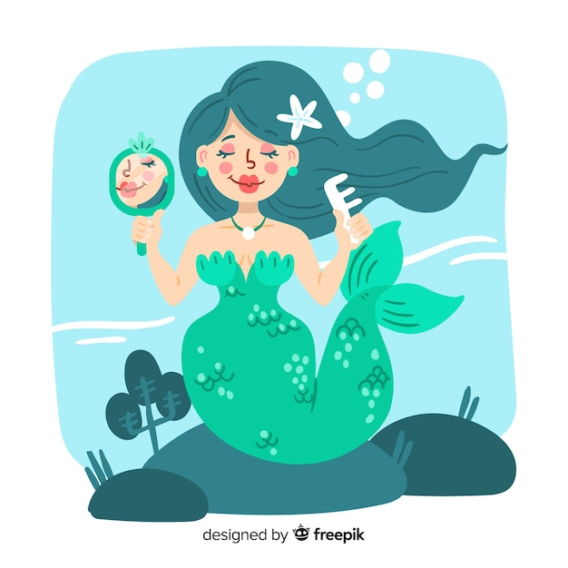 Hand drawn mermaid background Free Vector