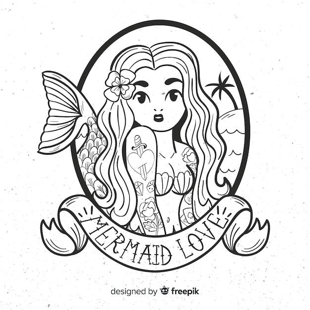 Hand drawn mermaid background Free Vector