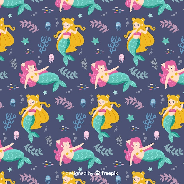 Hand drawn mermaid character pattern Free Vector