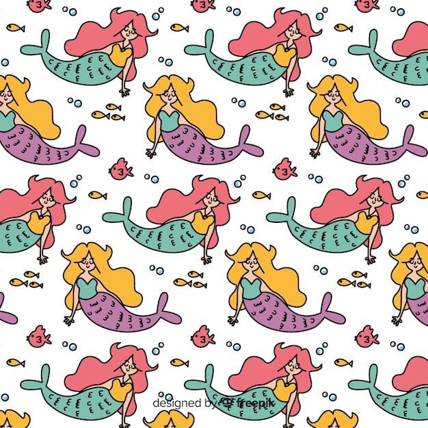 Hand drawn mermaid character pattern Free Vector