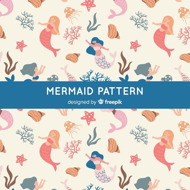 Hand drawn mermaid pattern Free Vector