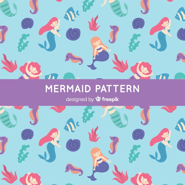 Hand drawn mermaid pattern Free Vector