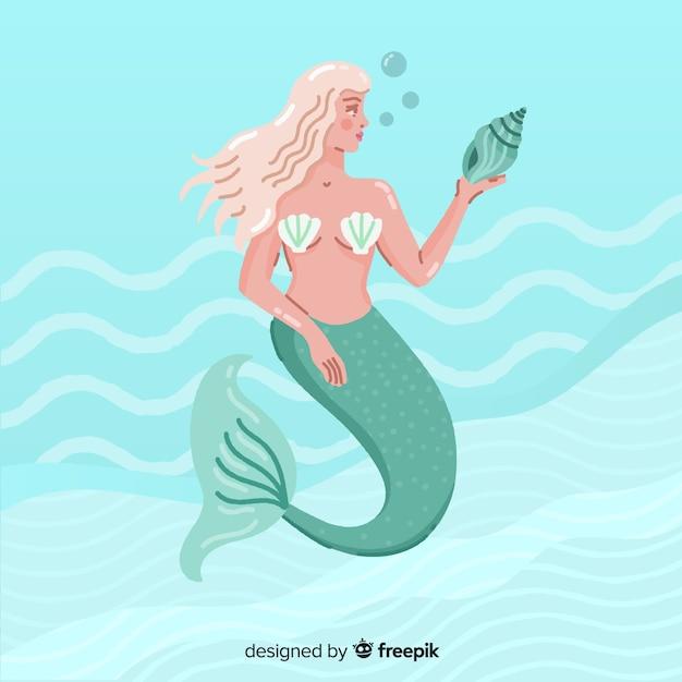 Hand drawn mermaid portrait Free Vector