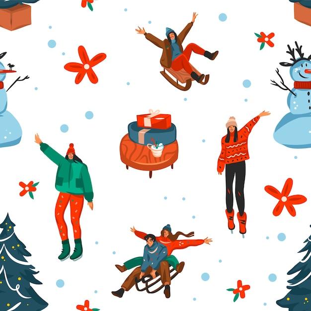 손으로 그린 메리 크리스마스와 새 해 복 많이 받으세요 시간 만화 축제 원활한 패턴 프리미엄 벡터