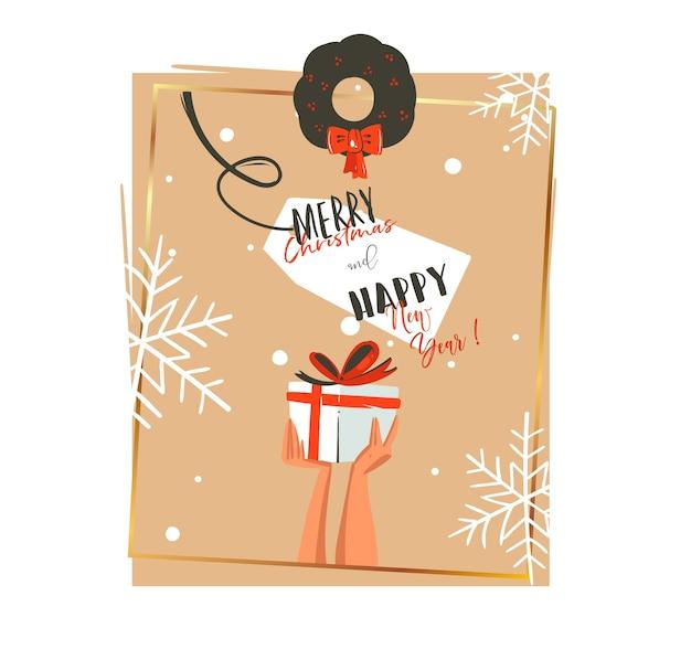 손으로 그린 메리 크리스마스와 새 해 복 많이 받으세요 시간 만화 일러스트 인사말 카드 서식 파일을 들고 손으로 고립 된 현재 프리미엄 벡터