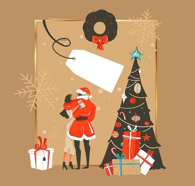 손으로 그린 된 메리 크리스마스와 새 해 복 많이 받으세요 시간 만화 일러스트 인사말 카드 서식 파일 키스 커플과 절연 선물 크리스마스 트리 프리미엄 벡터