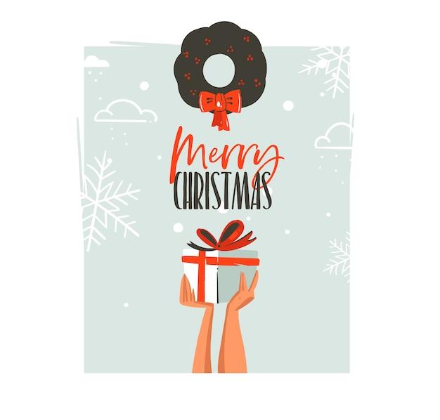 손으로 그린 메리 크리스마스와 행복 한 새 해 시간 복고풍 만화 일러스트 인사말 카드 깜짝 선물 상자와 고립 된 겨우살이 들고 사람들 손으로 프리미엄 벡터