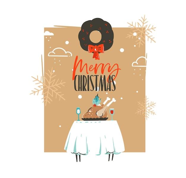 손으로 그린 메리 크리스마스와 행복 한 새 해 시간 복고풍 빈티지 만화 일러스트 인사말 카드 크리스마스 저녁 식사 테이블, 터키와 미 슬 토 화 환 절연 프리미엄 벡터