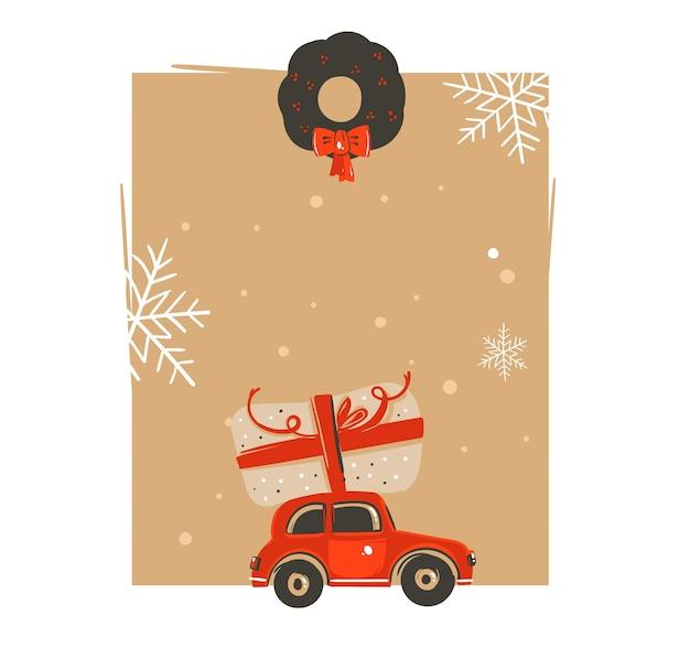 손으로 그린 메리 크리스마스와 행복 한 새 해 시간 빈티지 만화 일러스트 인사말 카드 태그 템플릿 자동차와 깜짝 크리스마스 상자 절연 프리미엄 벡터