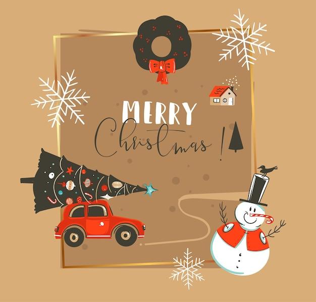 손으로 그린 메리 크리스마스와 행복 한 새 해 시간 빈티지 만화 일러스트 인사말 카드 서식 파일 자동차, 크리스마스 트리, 눈사람 및 절연 타이포그래피 텍스트 프리미엄 벡터